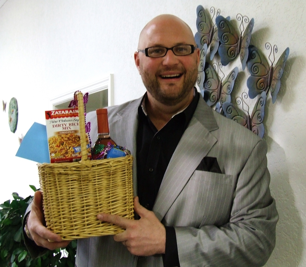Aaron Rose with February Gift Basket