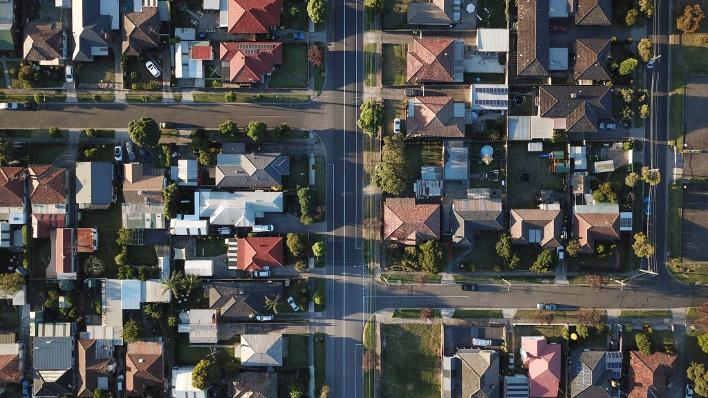 aerial view of the suburbs, the cost of refinancing your home