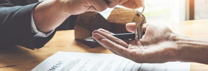 Real estate closing, exchanging of keys and signing agreement